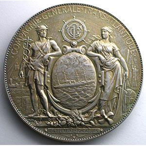 PAGNIER   Médaille en argent  68mm   Cie Gle Transatlantique    SUP