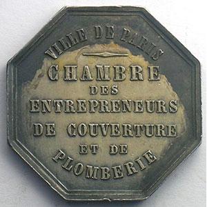 Paris   jeton octogonal en argent   Chambre des Entrepreneurs    TTB+/SUP