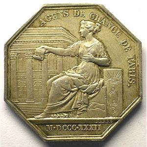 Paris   jeton octogonal en argent   Louis-Philippe I   1832    TTB+/SUP