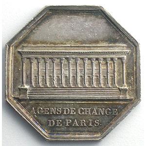 Paris   jeton octogonal en argent   Louis XVIII   1814    SUP