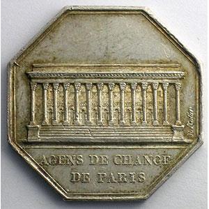 Paris   jeton octogonal en argent   Louis XVIII   1821    SUP