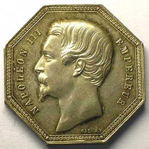 Paris   jeton octogonal en argent   Napoléon III   1853    TTB+/SUP