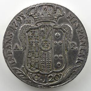 Piastre (120 Grana)   Ferdinand IV  (1 ère période 1759-1799)   1795 P  M A P    TB+