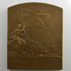PILLET Ch.   Plaque en bronze  57x70mm   Exposition Franco-Britannique   1908    SUP/FDC