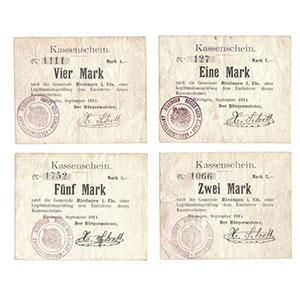 Pirot 68-128à131   1, 2, 4, 5 Mark   septembre 1914    TTB
