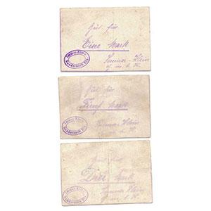 Pirot 68-347,350,354   1, 5 Mark, 3 Mark avec cachet au revers    TTB/SPL