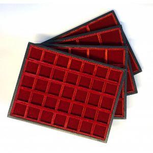 Plateau Mignon en bois et velours   20 cases - 35 mm