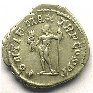 R/ PONTIF MAX TR P COS PP   (Rome 217-18)    TTB
