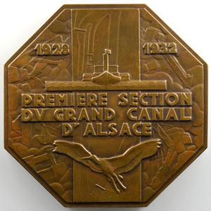 Renard Marcel   Médaille octogonale en bronze   70mm   Inauguration de la centrale hydro-électrique du Rhin    SUP