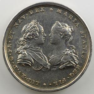 Roettiers   Cérémonie du mariage de Louis XV et de Marie Leszczynska   argent   34mm    TTB