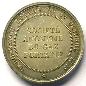 Société Anonyme du Gaz Portatif   jeton rond en argent   Louis-Philippe I    TTB+/SUP
