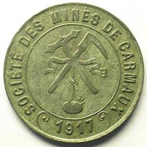 Société des Mines   10 c   1917   Zn, R  30 mm    TTB+