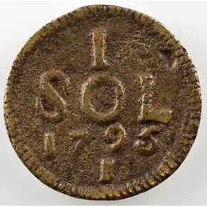Sol obsidional coulé en métal de cloche   1795    TTB+