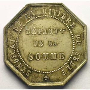 Syndicat de la rivière de Selle (Somme)   jeton octogonal en argent    SUP