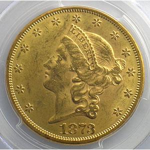 TWENTY DOLLARS   1873 (Philadelphie)  3 ouvert (open 3)    PCGS-MS61    SUP+