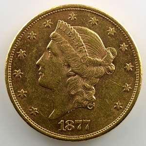 Twenty Dollars   1877 S  (San Francisco)    TTB/TTB+
