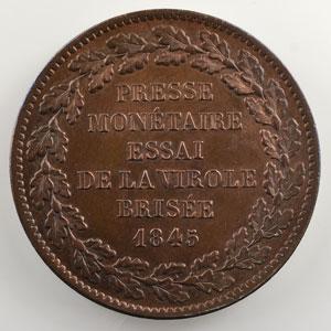 VG 3100   module de 5 Francs   (1848) cuivre    TTB+