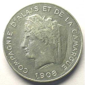 VG 4612 - Mazard 2327   10 (cent) Essai Monétaire   1908   alu, R   30mm    TB+/TTB