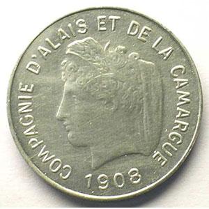 VG 4613 - Mazard 2328   5 (cent) Essai Monétaire   1908   alu, R   25mm    TTB+
