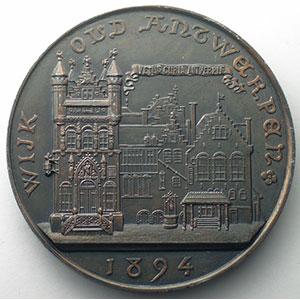 Vieux quartiers d'Anvers / sceau de la ville   1894   Anvers   bronze   69mm    SUP