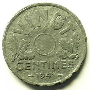 VINGT Centimes   1941    TTB