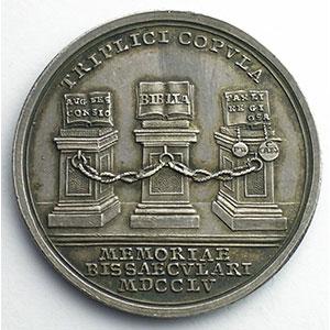 WERNER PP   Médaile en argent   35mm   200° anniversaire de la Paix d'Augsbourg du 25 sept. 1555   1755    SUP