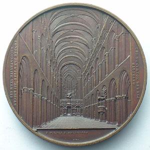 WIENER J.   Restauration de la Cathédrale de Tournai   1857   bronze   59,5mm    SUP