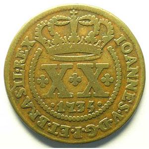 XX Reis   1735 (date entre 2 points)   (Jean V 1706-1750)    TB+/TTB